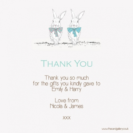 Thank You - Twin Rabbits & Bow Ties - Postcard - Pack of 10