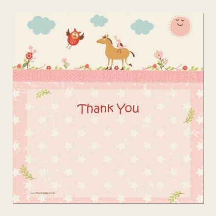 Ready to Write Kids Thank You Cards - Girls Vintage Pony