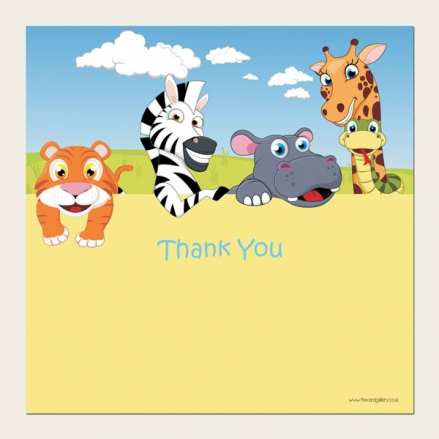 Ready to Write Kids Thank You Cards - Zoo Animals
