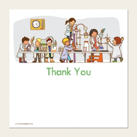 Ready to Write Kids Thank You Cards - Science Party