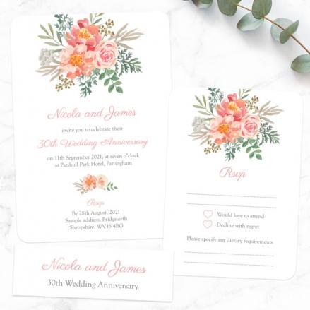 30th Wedding Anniversary Invitations - Peach Watercolour Bouquet