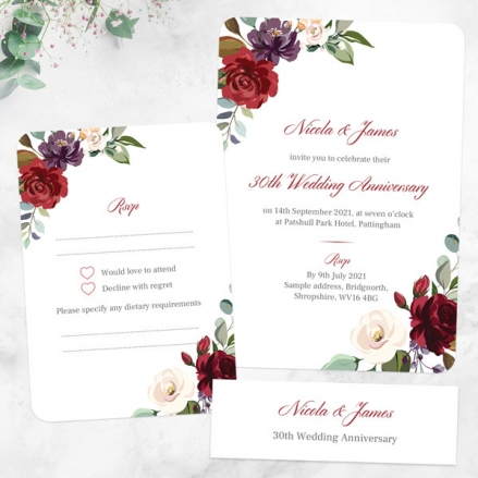 30th-Wedding-Anniversary-Invitations-Jewel-Flowers