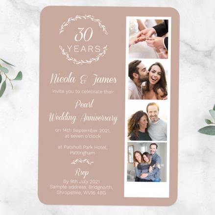 30th-Wedding-Anniversary-Invitations-Photo-Strip-Leaf-Pattern