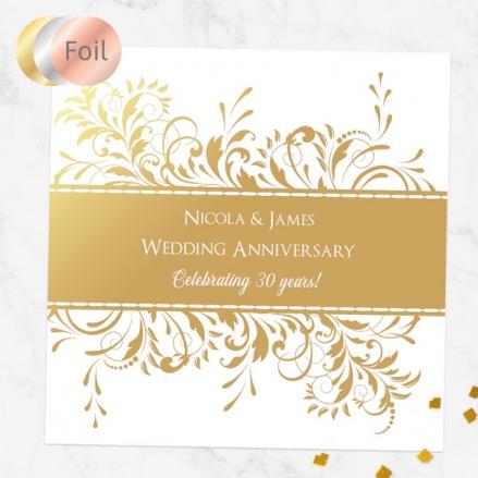 30th Foil Wedding Anniversary Invitations - Antique Swirls