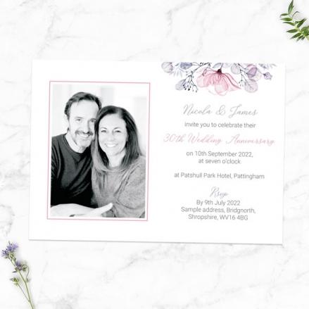 30th-Wedding-Anniversary-Invitations-Lilac-&-Pink-Flowers