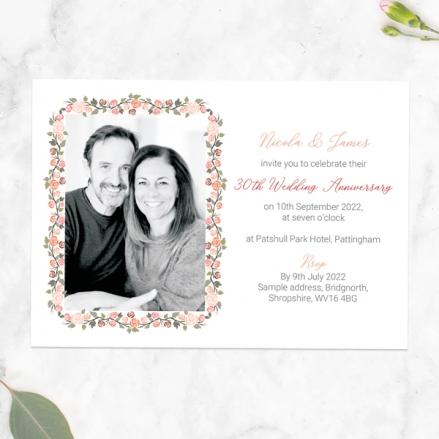 30th-Wedding-Anniversary-Invitations-Peach-Rose-Border