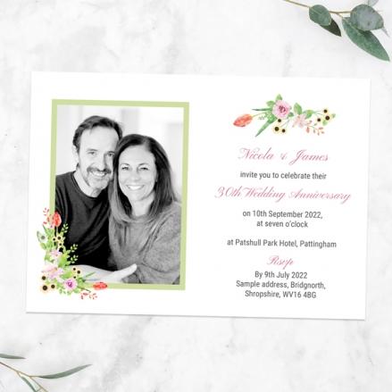 30th-Wedding-Anniversary-Invitations-Summer-Flowers