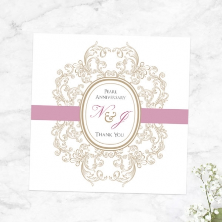 30th Anniversary Thank You Cards - Baroque Border