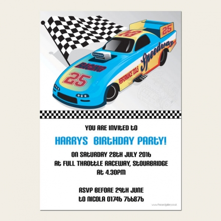 Personalised Kids Birthday Invitations - Boys Blue Racing Car - Pack of 10