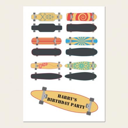 Personalised Kids Birthday Invitations - Boys Skateboard - Pack of 10