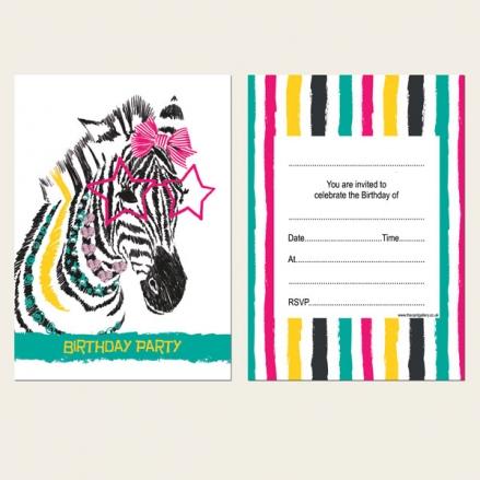 Ready to Write Kids Birthday Invitations - Cool Zebra - Pack of 10