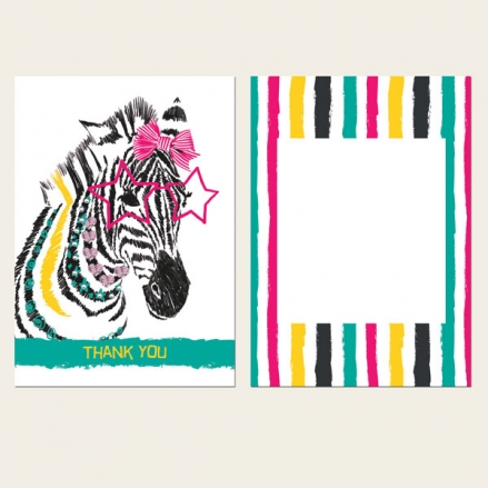 Ready to Write Kids Thank You Cards - Cool Zebra