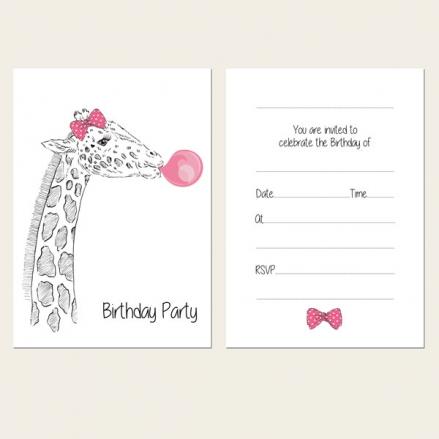 Ready to Write Kids Birthday Invitations - Cute Giraffe & Bubblegum - Pack of 10