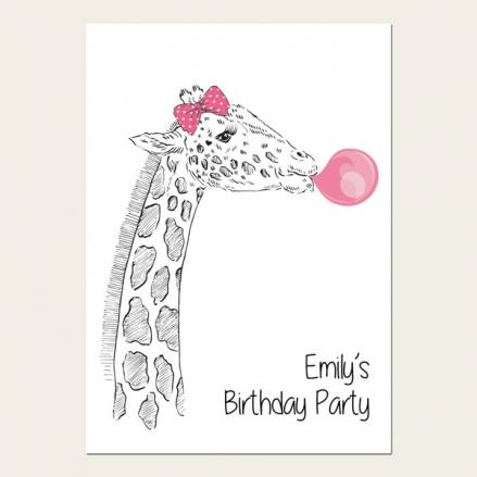 Personalised Kids Birthday Invitations - Cute Giraffe & Bubblegum - Pack of 10
