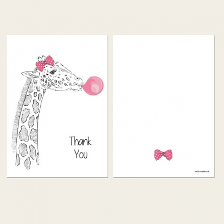 Ready to Write Kids Thank You Cards - Cute Giraffe & Bubblegum