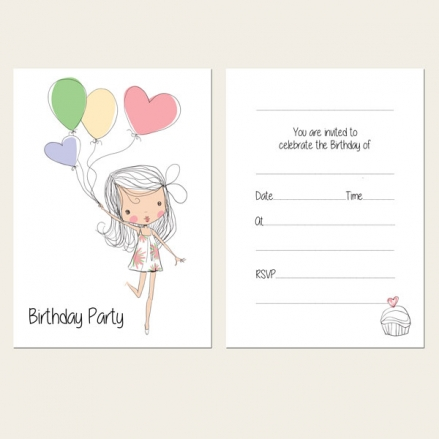Ready to Write Kids Birthday Invitations - Cute Girl & Balloons - Pack of 10