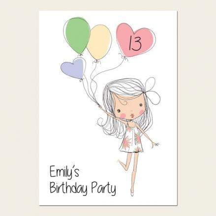 Teen Birthday Invitations - 13th Birthday Cute Girl & Balloons