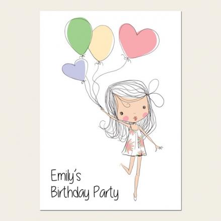 Personalised Kids Birthday Invitations - Cute Girl & Balloons - Pack of 10
