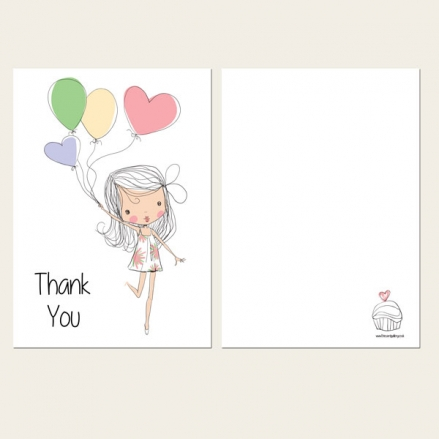 Ready to Write Kids Thank You Cards - Cute Girl & Balloons