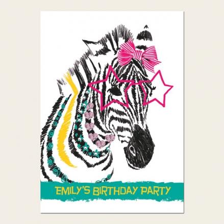 Personalised Kids Birthday Invitations - Cool Zebra - Pack of 10