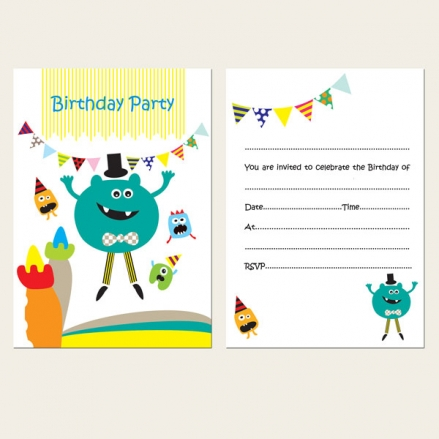 Ready to Write Kids Birthday Invitations - Little Monsters Bouncy Castle - Pack of 10