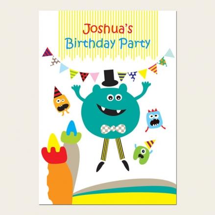 Personalised Kids Birthday Invitations - Little Monsters Bouncy Castle - Pack of 10