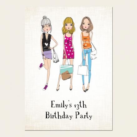 Teen Birthday Invitations - 13th Birthday Teen Fashion
