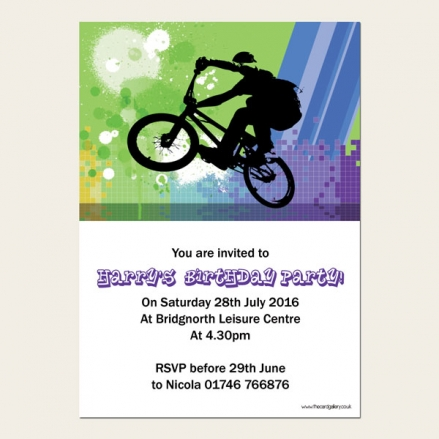 Personalised Kids Birthday Invitations - BMX - Pack of 10