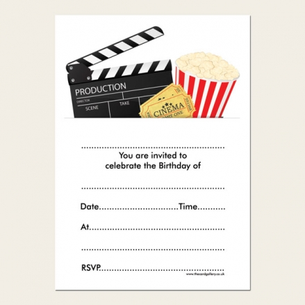Ready to Write Kids Birthday Invitations - Cinema Party - Pack of 10