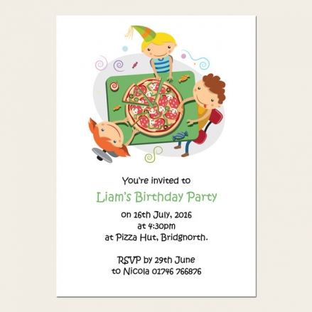 Personalised Kids Birthday Invitations - Kids Pizza Party - Pack of 10