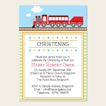 Christening Invitations - Red Steam Train - Postcard - Pack of 10