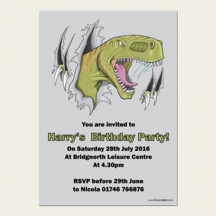 Personalised Kids Birthday Invitations - Scary Dinosaur - Pack of 10