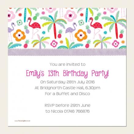 Personalised Kids Birthday Invitations - Tropical Flamingo - Pack of 10
