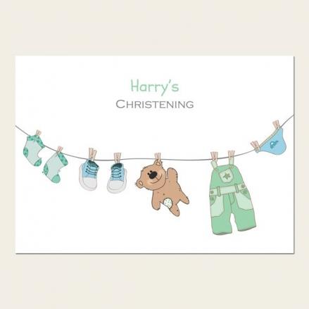Christening Invitations - Boys Teddy & Washing Line - Postcard  - Pack of 10