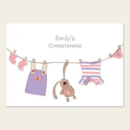 Christening Invitations - Girls Bunny & Washing Line - Postcard - Pack of 10