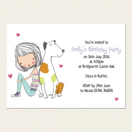 Personalised Kids Birthday Invitations - Cute Girl & Dog - Pack of 10
