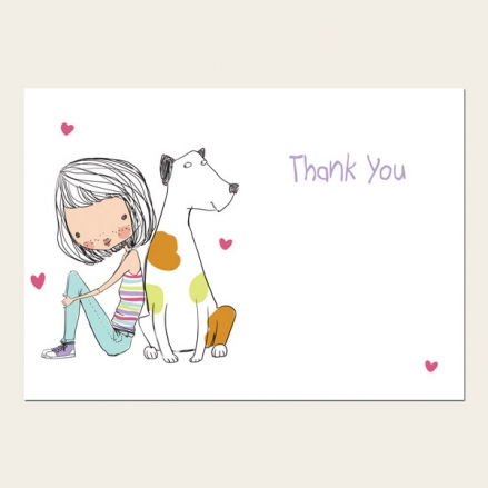 Ready to Write Kids Thank You Cards - Cute Girl & Dog