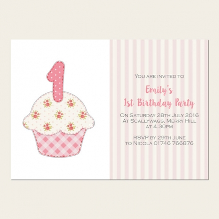 1st Birthday Invitations - Ditsy Gingham Cupcake - Pack of 10