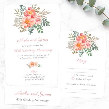 40th Wedding Anniversary Invitations - Peach Watercolour Bouquet