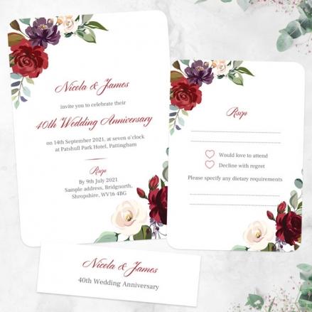 40th-Wedding-Anniversary-Invitations-Jewel-Flowers