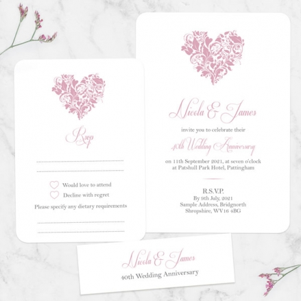 40th-Wedding-Anniversary-Invitations-Ornate-Heart