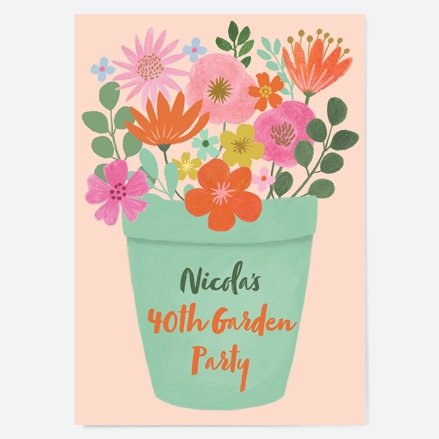 40th-birthday-invitations-beautiful-blooms-flower-pot-garden-party