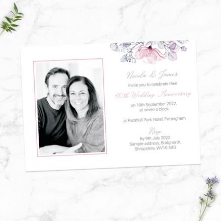 40th-Wedding-Anniversary-Invitations-Lilac-&-Pink-Flowers