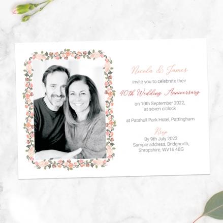 40th-Wedding-Anniversary-Invitations-Peach-Rose-Border