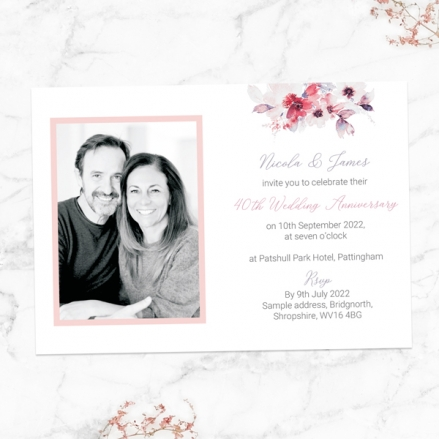 40th-Wedding-Anniversary-Invitations-Pink-Watercolour-Bouquet