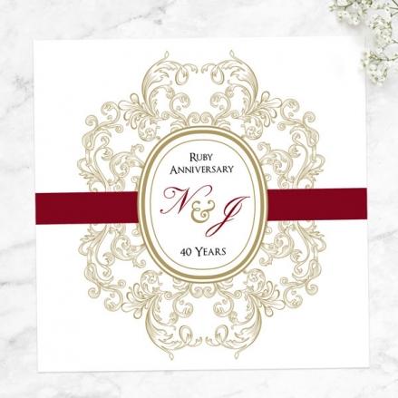 40th Wedding Anniversary Invitations - Baroque Border
