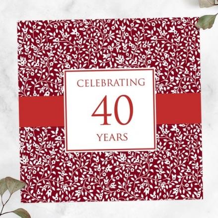 40th Wedding Anniversary Invitations - Delicate Pattern