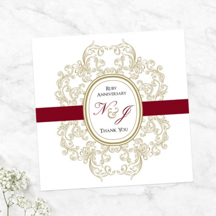 40th Anniversary Thank You Cards - Baroque Border