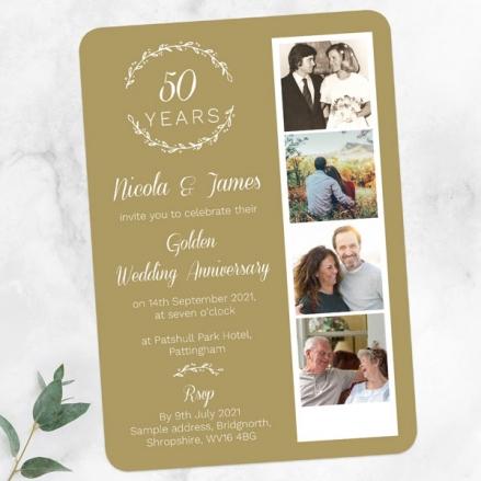 50th-Wedding-Anniversary-Invitations-Photo-Strip-Leaf-Pattern