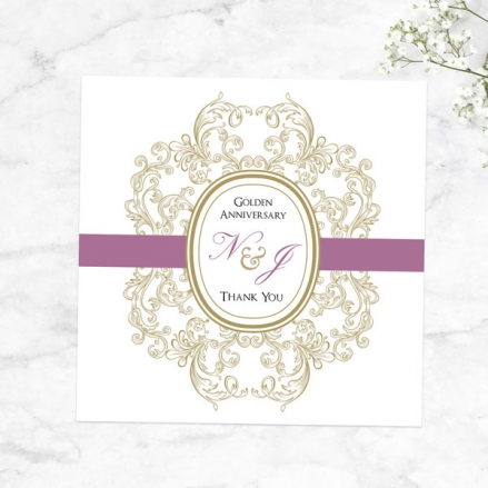 50th Anniversary Thank You Cards - Baroque Border